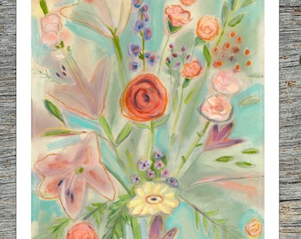 Flowers - 8 x 10 colorful professional print of oil painting with oil pastel.