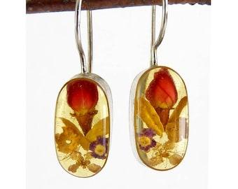 Genuine Dried Flowers in Resin Drop Earrings, Sterling Silver Settings