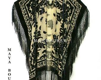 Caftan Duster Fringe Jacket Kimono Black & Beige Silk Burnout Velvet Maya