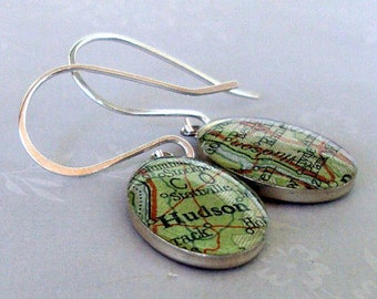 Vintage Map Earrings Hudson River Valley Oval Sterling Silver Hand Forged Earwires New York Free US Shipping