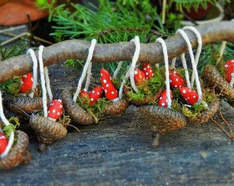 toadstool mushrooms in acorn cap, tiny ornament, fairy garden, set of 3