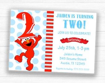 Elmo Invitation, Elmo Birthday Invitation, Elmo Birthday, Elmo Party Invitation, Elmo Party, Sesame Street Invitation,Sesame Street Birthday