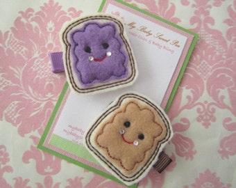 Girl hair clips - peanut butter - girl barrettes - girl hair clippies