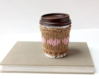 Vegan Coffee Gift, Cotton Mug Cozy, Ecofriendly Coffee Gift, Organic Coffee Knit, Coffee Sleeve Knit, Fall Gift, Coffee Lover Gift