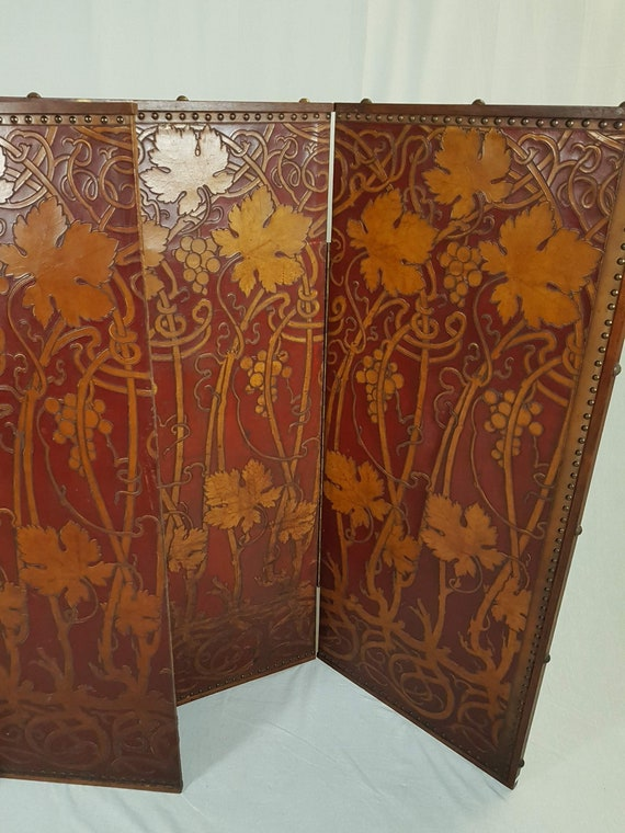 Antique Art Nouveau Jugendstil tooled leather three panel screen room divider