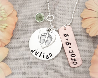 New Mommy Sterling Silver and Copper Necklace Customized Hand Stamped Jewelry