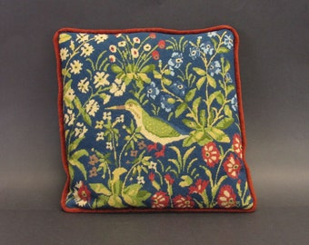 Vintage Hand Made Needlepoint Pillow with Floral Bird Pattern(E10418)