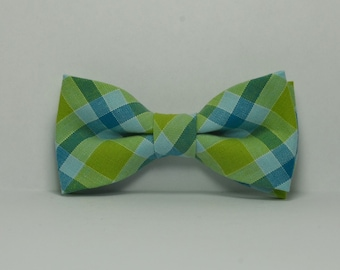 Lime Green and Blue Plaid Boy's Bow Tie, Preppy Tie, Baby Bowtie, Toddler, Teen, Wedding, Ring Bearer Outfit