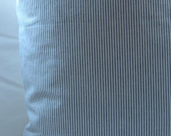 Pair of Lee Jofa blue and white ticking stripe pillows