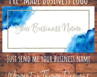 Watercolor Blue Pre-made Business Logo Branding -to be personalized with your business name