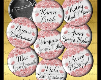 Bridal Shower Red Lace Image Buttons, 2018 Wedding Color Bridal Shower Buttons, Bachelorette Party, Lace Wedding Party Buttons,