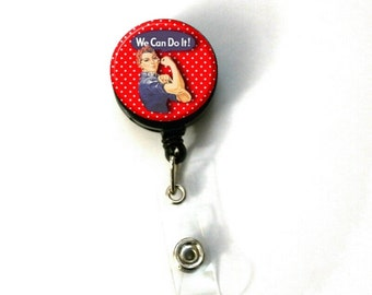 Rosie the Riveter Image Retractable ID Name Holder Badge Reel Clip On Nurse