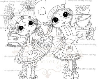 INSTANT DOWNLOAD Digital Digi Stamps Big Eyed Little Bakers Besties Big Head Dolls Digi By Sherri Baldy