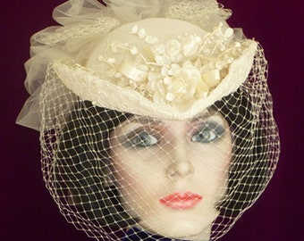 Vintage,English,Netting over ,Alencon Lace,Veiling,Ivory Dyed Flowers,Roses,Lilly of Valley,Bridal,Unique,Classic Bride