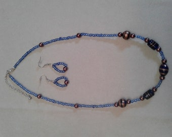 dark blue and bronze glass bead necklace