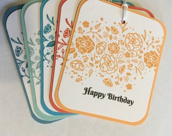 Happy Birthday Gift Tags, Floral Gift Tags,Gift Wrap Tags,Set of 5