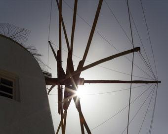 Greek Islands Photography - Windmill Print - Oia, Santorini at Sunset