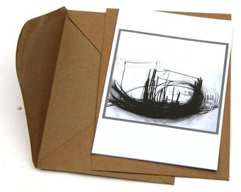 Drawing, Artistic card, gift, art lover, folding card DIN-5, card with envelope,