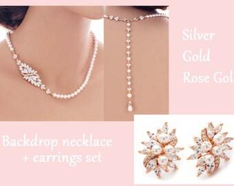 Gold backdrop necklace set, bridal jewelry set, pearl wedding jewelry, bridal necklace and earring set, wedding necklace, pearl back drop