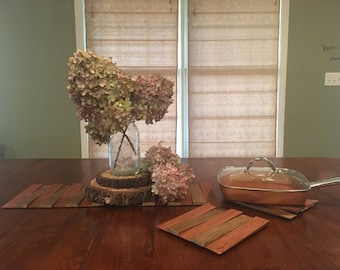 Distressed-Wood Table Runner and Trivets