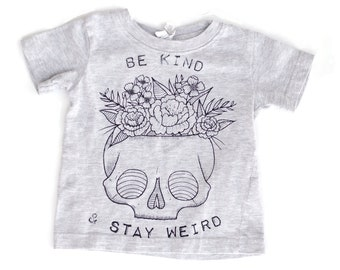 MISPRINT Clearance - Be Kind & Stay Weird on upcycled baby tee on GRAY