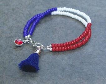 Red, White & Blue Tassel Bracelet