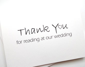 Wedding Reader Card - Thank You Card - Thank You For Reading At Our Wedding - with heart