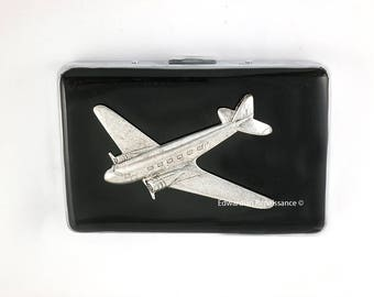 Airplane RFID Metal Wallet Inlaid in Hand Painted Black Enamel Aeronotic Dieselpunk Insired Credit Card Case Personalized and Color Options