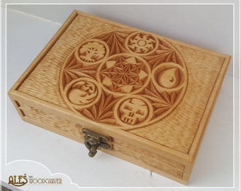 MTG card box - hand carved box to hold 100 Magic the Gathering cards in sleeves - a unique gift for any Magic player, Commander, EDH deck