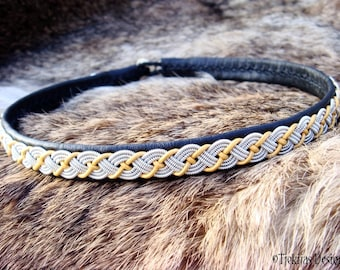 VALHAL Viking Necklace in Black Sami Lapland Reindeer Leather with Spun Tin Thread and Gold cord braid and Antler button - Custom Handmade