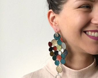 Single Long Earring,  Multicolor  Shoulder Duster Earring, Asymmetrical Earrings, Multicolor leather and Golden Charms Earrings,