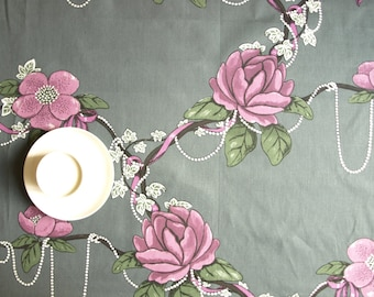 Tablecloth grey purple Roses green leaves pearls Floral Scandinavian Design , runner , napkins , curtains , pillows available, great GIFT