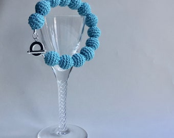 Turquoise blue chunky bracelet | beaded bangle | crochet beads | statement jewellery