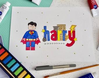 Personalised Name Art - Lego Superhero - Superman - A4 Watercolour - Lego Room Decor - Boys Room Decor - Lego - Superhero - Name Art