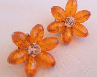 1960s Orange Clip Earrings