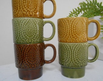 Retro Vintage Stacking Coffee Cups - 70's Set of Six Japan