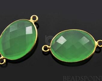 Green Chalcedony Oval Connector ,Gold Vermeil , 29x16mm,1 Piece, (BZC4052)