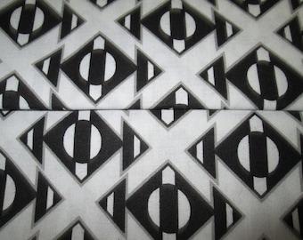 Abstract /motif cotton fabric, black cotton fabric / white
