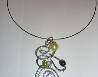 Ornate aluminum silver and green!