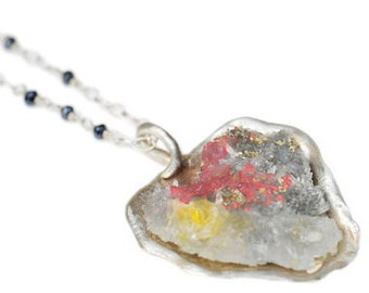 Mixed Treasure Seascape Necklace Cradled in Organic Sterling Pod