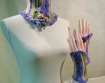 SET Neckwarmer and Cuffs, Crochet Neckwarmer and Fingerless Gloves, Crochet Scarf and Mitts, Lavender Neck Warmer and Cuffs, Gift for Her