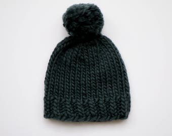 100% Wool Super Chunky Beanie Hat - Forest Green