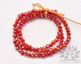 CB100-RD// 4mm Faceted Crystal Rondelle Bead, 1 strand