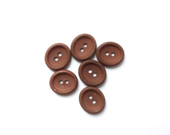 6 Rusty Brown Buttons, Vintage French Buttons, Fancy, 24mm