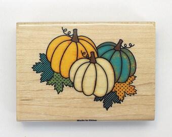 Pumpkin Rubber Stamp//Fall Rubber Stamp//Wooden Stamp//Thanksgiving Pumpkins Stamp//Greeting Card Stamp//Gift Tag Stamp//Pumpkins//Stamp