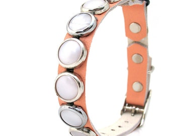 Peach Leather Cat Collar with Pearl Circle Studs, Size to fit a 8-10in Neck, Safety Rubber Ring, Eco-Friendly, Reclaimed Leather
