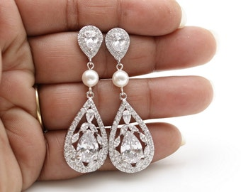 Crystal Bridal Earrings, Pearl Wedding Earrings, Crystal Teardrop Earrings, Wedding Jewelry, Zirconia Bridal Jewelry, Bridal Jewelry, Esther