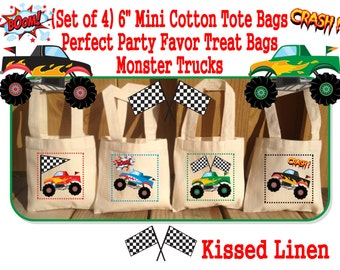 Monster Trucks Treat Favor Bags Cotton Totes Children Kids Guests Monster Trucks Favor Treat Gift Bags - Set of 4