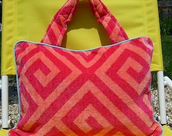 Pillow Beach Pillow Travel Pillow Hot Pink Geometric Print