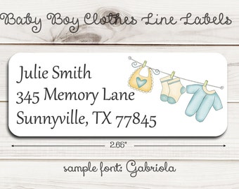 Baby Boy or Girl Clothes Line Return Address Labels